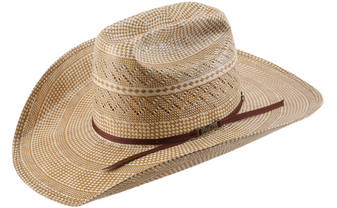 American Hat Co TC8850 Tuf Cooper 20X Two Tone Fancy Vent Straw Cowboy Hat - Ivory/Brown