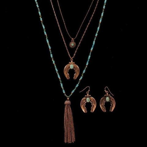Blazin Roxx Womens Jewelry Necklace Set Tassel Squash Blossom Turq Copper