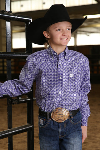 CHILDREN'S PURPLE GEOMETRIC PRINT CINCH BUTTON-DOWN WESTERN SHIRT