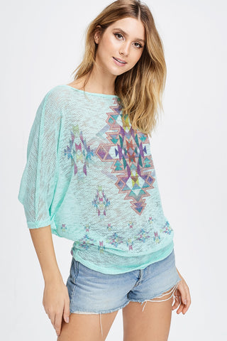Crystal Aztec Knit Short Sleeve