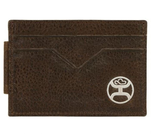 HOOEY MEN'S WESTERN CARD WALLET LEATHER CORD STITCH LOGO - BROWN
