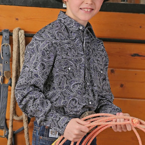 Cinch Boys Black and Purple Paisley Western Shirt