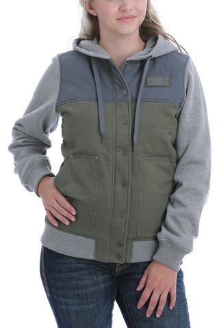 Cinch Women's Color Blocked Hoodie Jacket - Olive, Blue and Grey