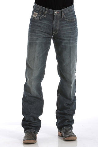 MENS RELAXED FIT WHITE LABEL JEANS - DARK STONEWASH