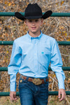CINCH BOYS LIGHT BLUE MICRO STRIPE BUTTON-DOWN WESTERN SHIRT