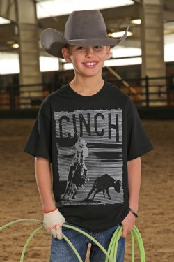 CINCH BOYS BLACK CLASSIC TEAM ROPER CREW NECK TEE