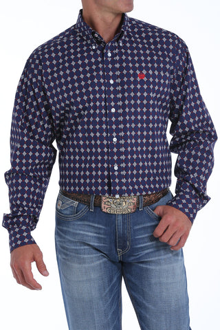 CINCH MEN'S NAVY, WHITE AND RED MEDALLION PRINT BUTTON-DOWN WESTERN SHIRT