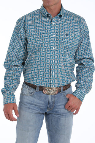CINCH MEN'S TEAL GEOMETRIC PRINT BUTTON-DOWN WESTERN SHIRT