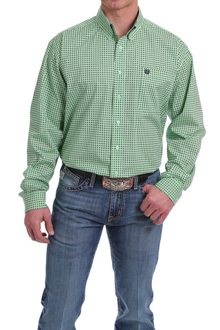 CINCH MEN'S GREEN AND BLACK GEOMETRIC PRINT BUTTON-DOWN WESTERN SHIRT