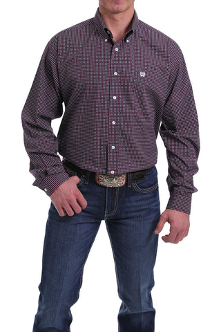 MEN'S CINCH BURGUNDY, WHITE AND BLACK GEOMETRIC PRINT BUTTON-DOWN SHIRT