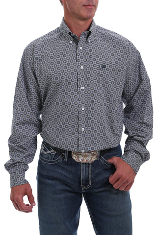 CINCH MEN'S BLACK, WHITE AND GREEN MEDALLION PRINT BUTTON-DOWN SHIRT