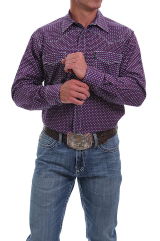 CINCH MEN'S MODERN FIT RED, NAVY AND GRAY DIAMOND PRINT SNAP WESTERN SHIRT
