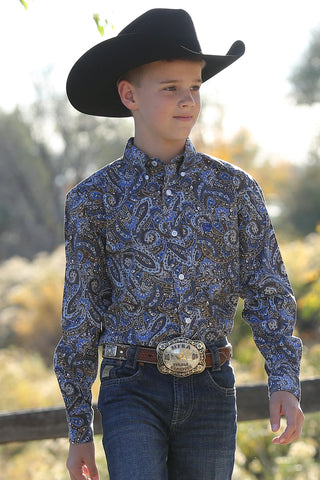 CINCH BOYS ROYAL AND BROWN PAISLEY PRINT BUTTON-DOWN WESTERN SHIRT