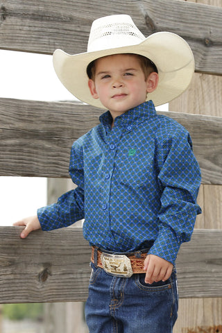 KID'S CINCH ROYAL BLUE AND GREEN GEOMETRIC PRINT BUTTON-DOWN WESTERN SHIRT