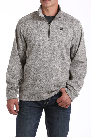 MENS 1/4 ZIP SWEATER KNIT FLEECE PULLOVER - KHAKI