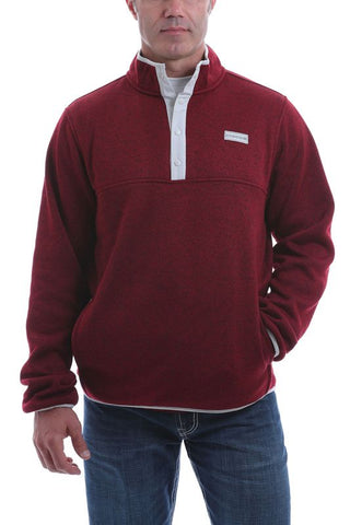 Cinch Men's Burgundy Heavyweight 1/4 Snap Pullover Sweater