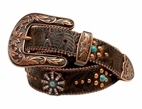 Womens Floral Embossed Spiral Rowel Concho Belt