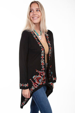 Scully Women's Honey Creek Collection - Shark Bite Cardigan - Black / Multi-Color