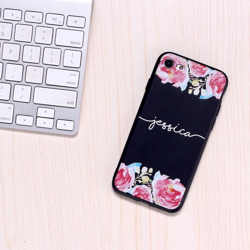 Black Custom Personalised Name Case // Soft Black TPU Mobile Phone Case for iPhone & Samsung