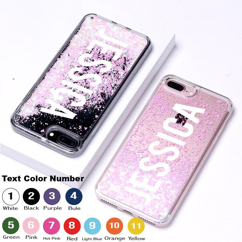 Light Pink Glitter Liquid Sparkle Custom Personalised Name Case // Hard Mobile Phone Case for iPhone