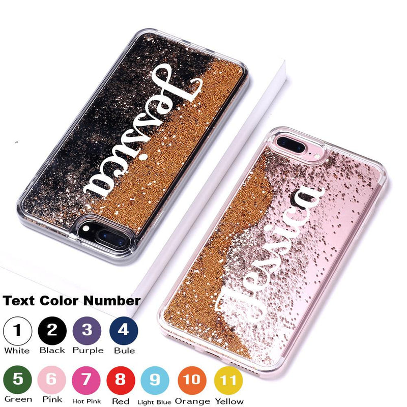 Gold Glitter Liquid Sparkle Custom Personalised Name Case // Hard Mobile Phone Case for iPhone