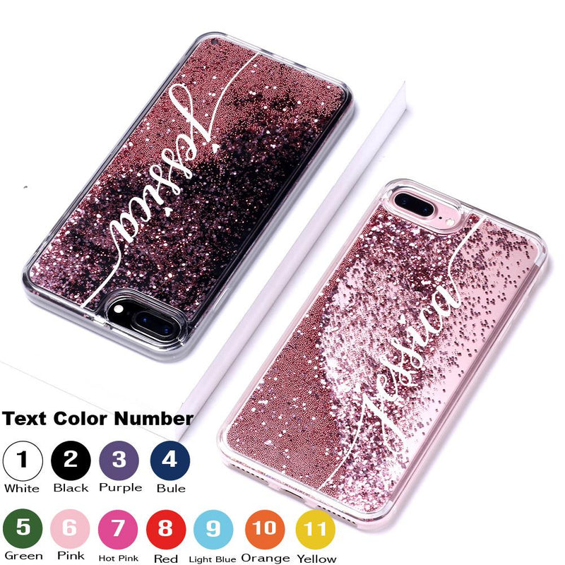 Rose Gold Glitter Liquid Sparkle Custom Personalised Name Case // Hard Mobile Phone Case for iPhone