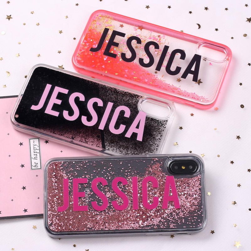 Red Glitter Liquid Sparkle Custom Personalised Name Case // Hard Mobile Phone Case for iPhone