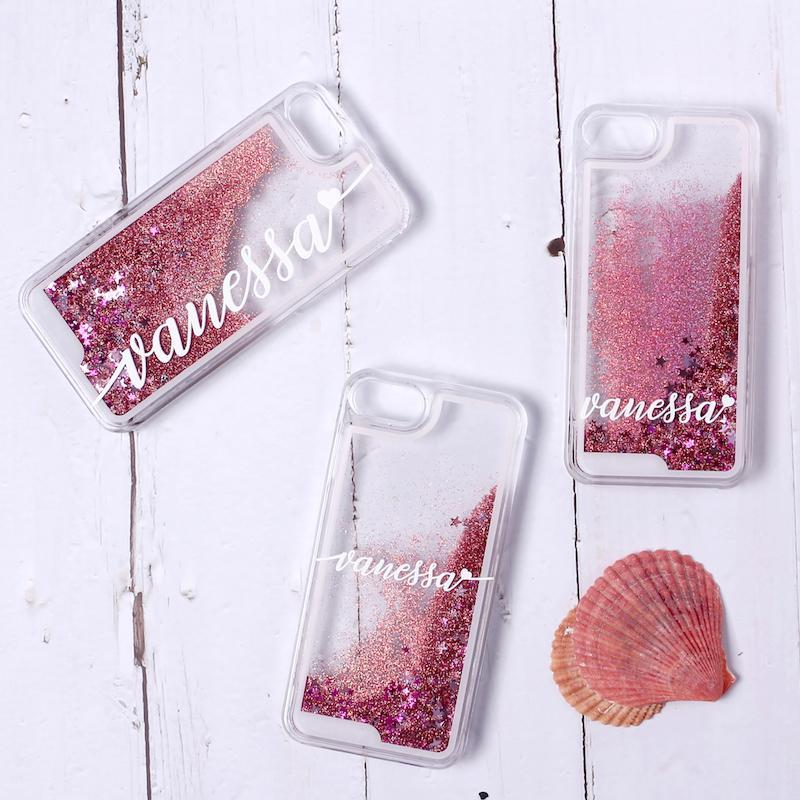 Pink Glitter Liquid Sparkle Custom Personalised Name Case // Hard Mobile Phone Case for iPhone