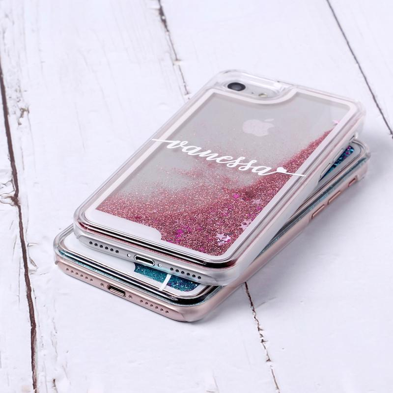 Silver Glitter Liquid Sparkle Custom Personalised Name Case // Hard Mobile Phone Case for iPhone