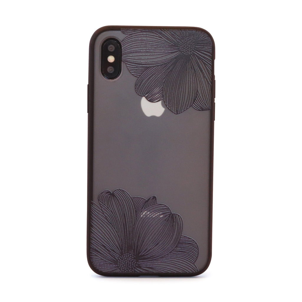 Black Twin Flower Mobile Phone Case for iPhone
