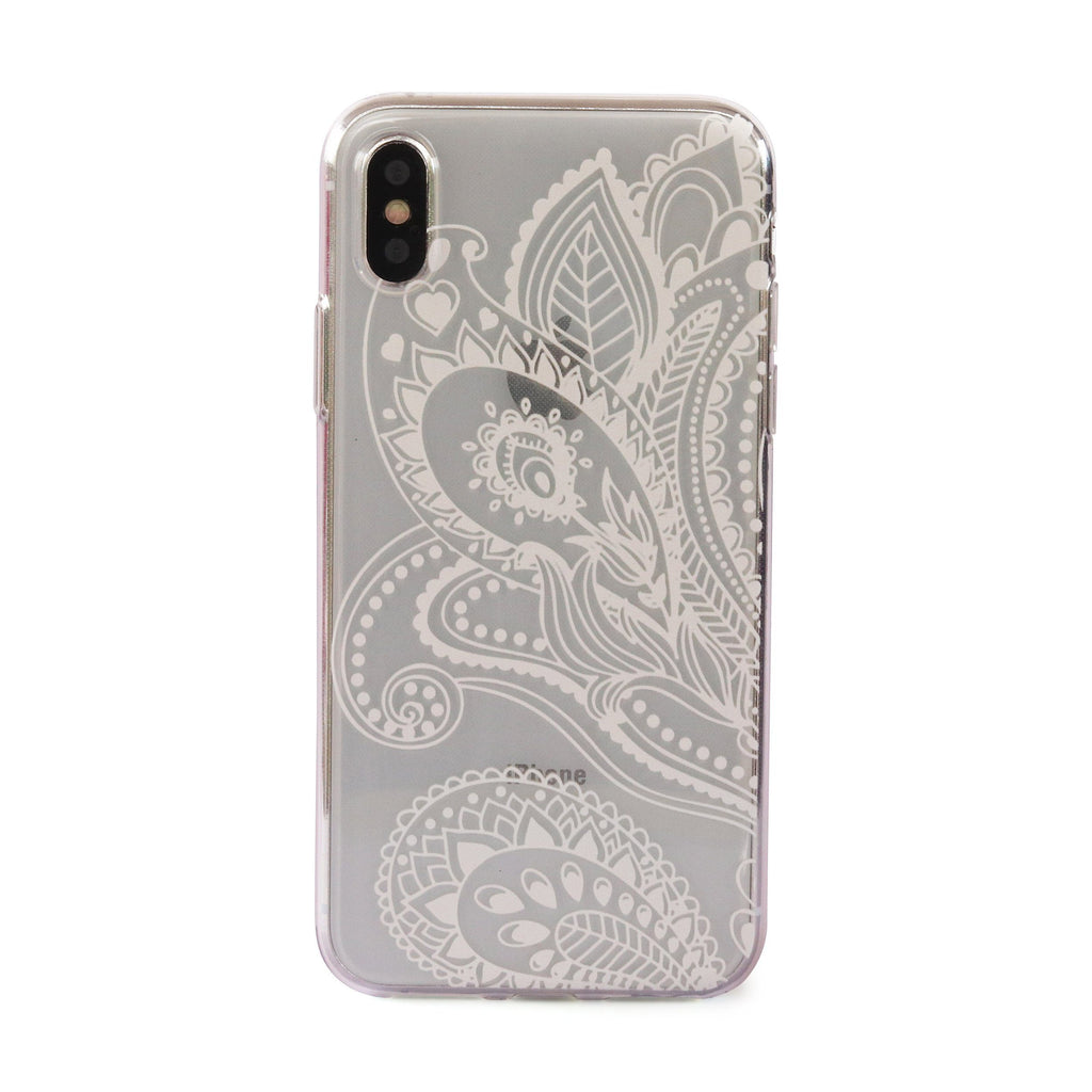 White Paisley Leaf // Henna Soft TPU Mobile Phone Case for iPhone & Samsung