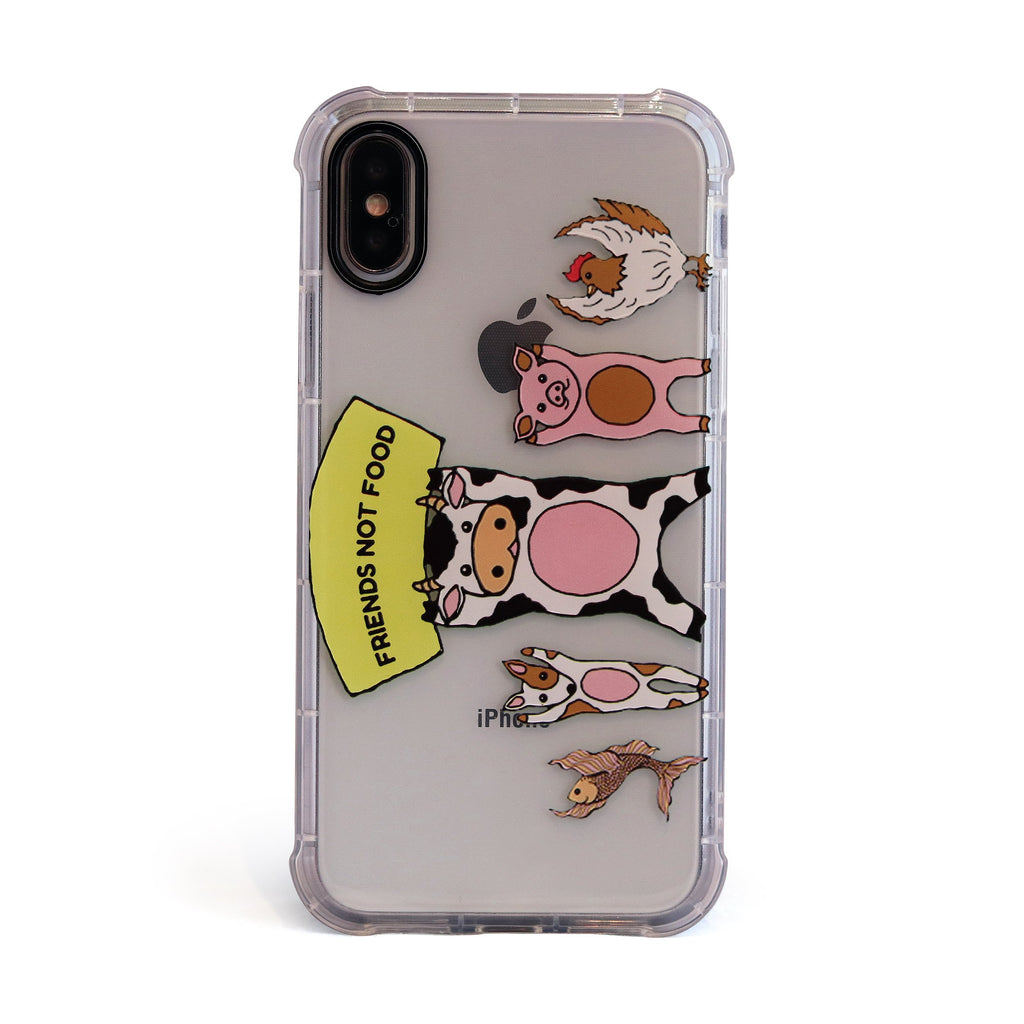 "Vegan ""Friends Not Food"" Vegetarian - 3D Embossed Protective Air Cushion Case // Protective Mobile Phone Case for iPhone & Samsung"