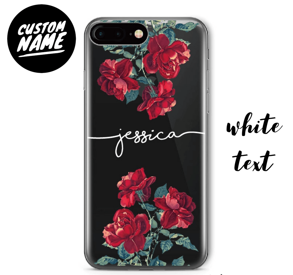 Roses Custom Personalised Name Case // Soft TPU Mobile Phone Case for iPhone & Samsung