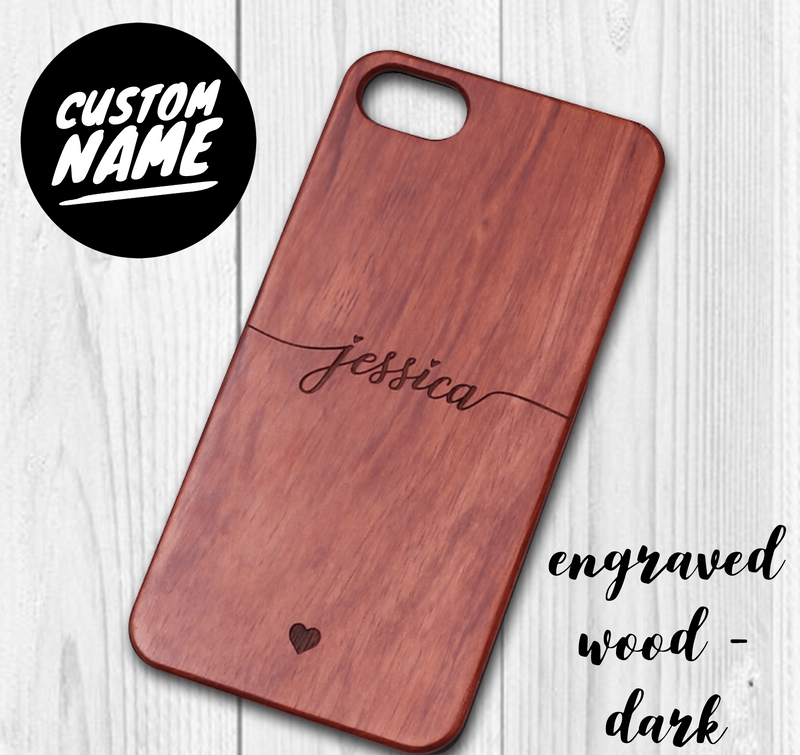 Wood Custom Carved Personalised Name Case // Wood Mobile Phone Case for iPhone & Samsung
