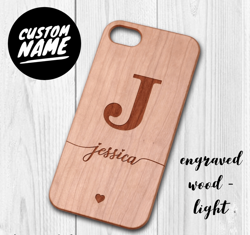 Wood Custom Carved Personalised Initial Case // Wood Mobile Phone Case for iPhone & Samsung