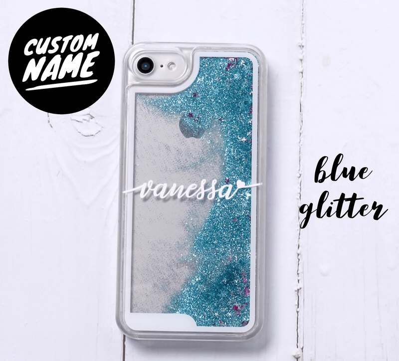 Blue Glitter Liquid Sparkle Custom Personalised Name Case // Hard Mobile Phone Case for iPhone