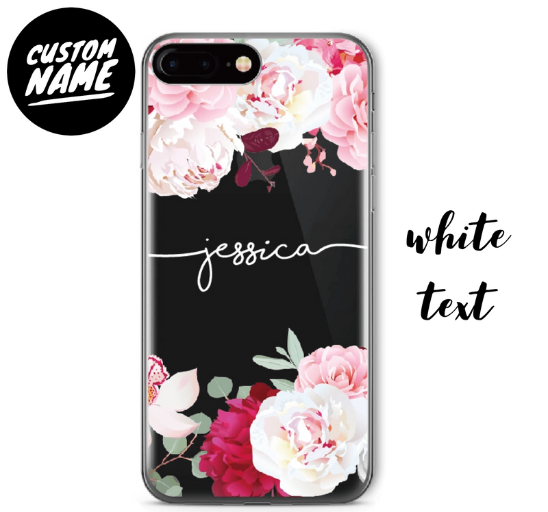 Floral Custom Personalised Name Case // Soft TPU Mobile Phone Case for iPhone & Samsung