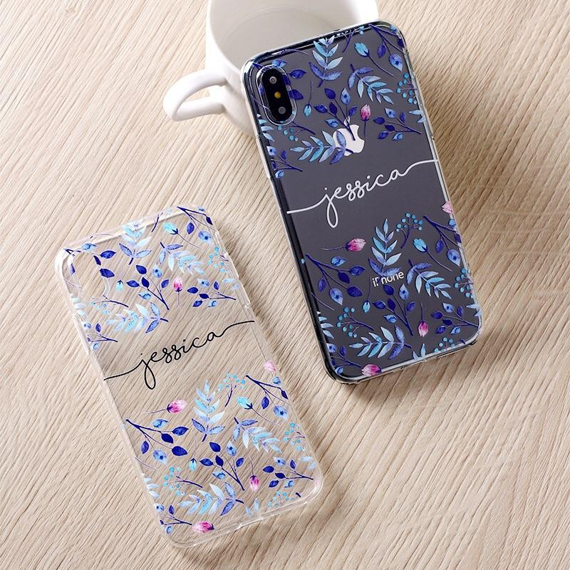 Custom Personalised Name Case - Purple Blooms // Soft TPU Mobile Phone Case for iPhone & Samsung