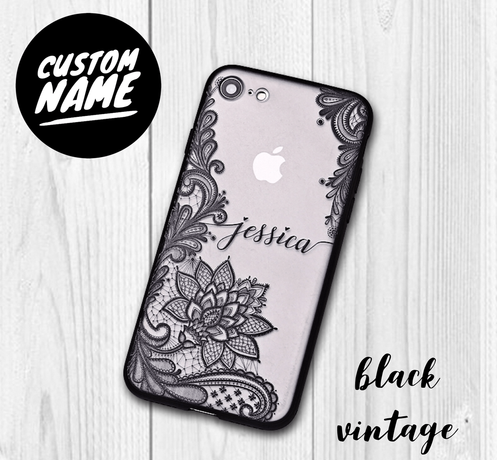 Vintage Vine Leaves Custom Personalised Name Case // Hard Mobile Phone Case for iPhone
