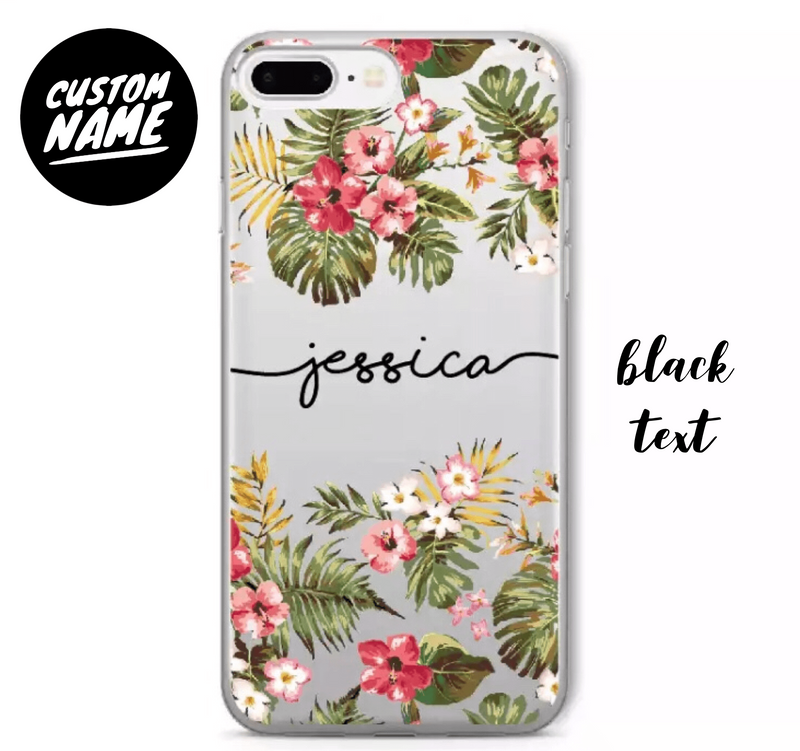 Custom Personalised Name Case - Hibiscus Flowers // Soft TPU Mobile Phone Case for iPhone & Samsung