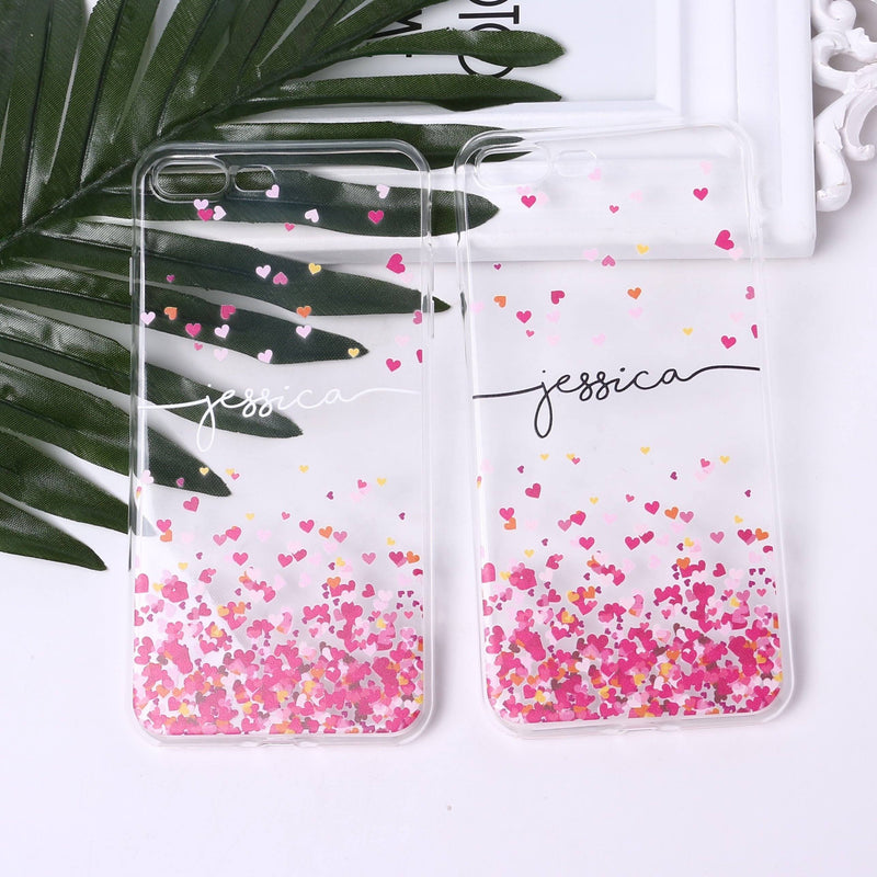 Hearts Custom Personalised Name Case // Soft TPU Mobile Phone Case for iPhone & Samsung