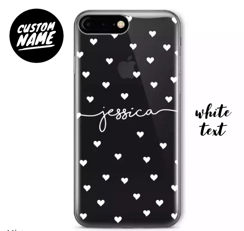 Custom Personalised Name Case - Heart Splash // Soft TPU Mobile Phone Case for iPhone & Samsung