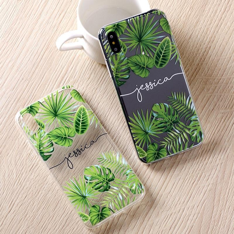 Custom Personalised Name Case - Palms // Soft TPU Mobile Phone Case for iPhone & Samsung