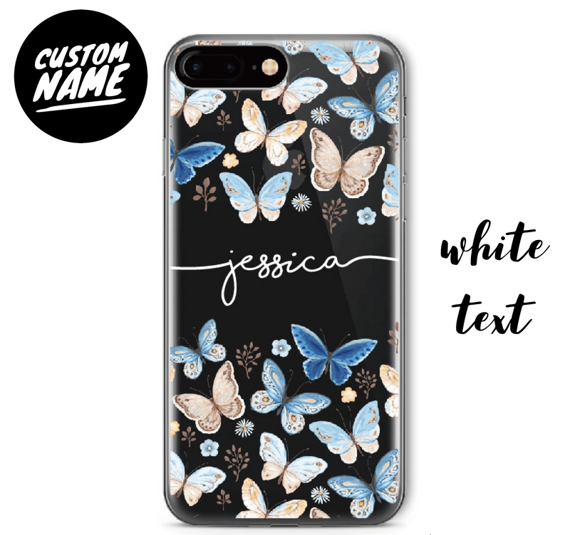 Butterfly Custom Personalised Name Case // Soft TPU Mobile Phone Case for iPhone & Samsung