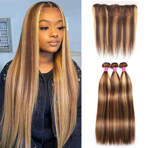 Brazilian Straight Human Hair 2 Bundles with 360 Lace Closure - Urfirst Hair