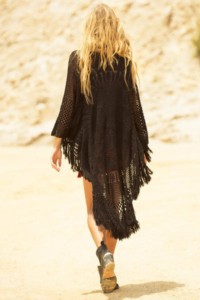 Spell Mandala Crochet Coat Black