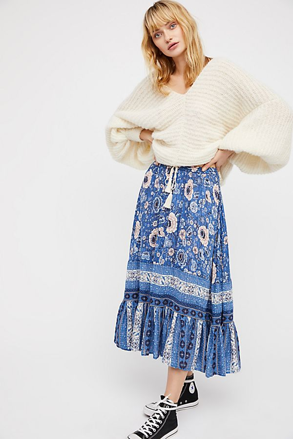 "Zahara ""Inspired"" Midi Skirt in Navy"