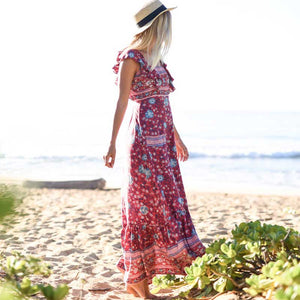 "Folktown ""Inspired"" Frill Dress in Wine by Spell & The Gypsy"