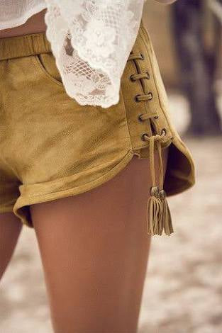 Island Boho Leather Lace Up Shorts by Spell & The Gypsy