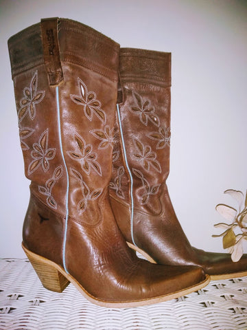 Vintage Joe Sanchez Leather Cowgirl Boots